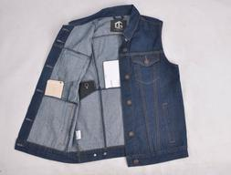 MEN'S DENIM BIKER MOTORCYCLE VEST JACKET BASIC PHONE POCKETS