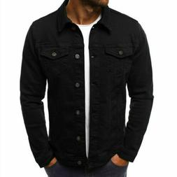 Men's Denim Coat Jacket Jean Casual Cargo Cowboy Lapel Singl