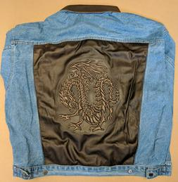 Men's Denim jacket with embossed leather back panel 2XL Free