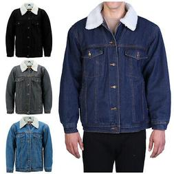Men's Denim Sherpa Jacket Classic Cotton Button Up Fleece Li
