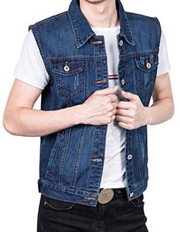 men s denim vest button down sleeveless