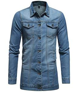 Gihuo Men's Distressed Mid Long Denim Jean Jacket Coat