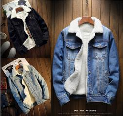 Men's Fleece Lined Winter Warm Coat Denim/Jean Fur Jacket Tr