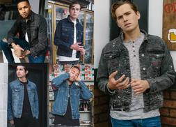 Men's Jean Jacket Denim Stretch Distressed Jacket Winter Fas
