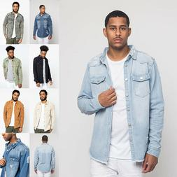 Victorious Men's Long Sleeve Button Up Distressed Denim Jean