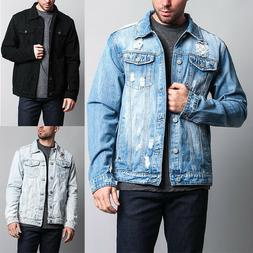 Victorious Men's Premium Cotton Distressed Denim Jean Jacket