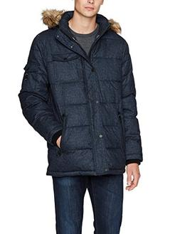 Nautica Men's Quilted Parka Jacket with Removable Faux Fur H