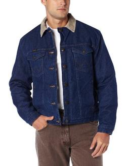 Wrangler Men's Regular Blanket Lined Denim Jacket, Denim/Bla