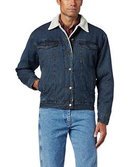 Wrangler Men's Rustic Sherpa Lined Jacket, Denim/Sherpa, Lar