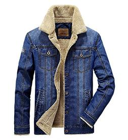 Gihuo Men's Sherpa Lined Denim Jacket Winter Warm Outerwear