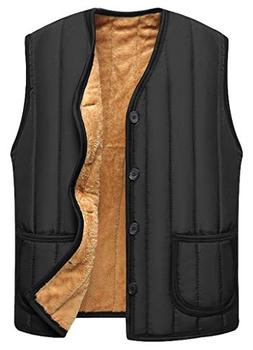 Vocni Men's V-Neck Botton Down Lightweight Quilted Vest Wint