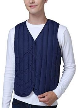 Vocni Men's Winter Down Vest V-Neck Botton Lightweight Sleev