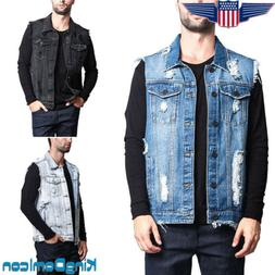 Mens Causal Jacket Denim Vest Jean Coat Collar Sleeveless Sh