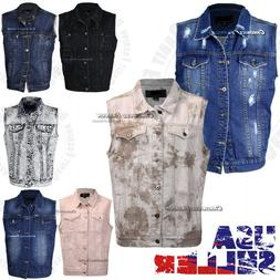 Mens Denim Vest Jean Jacket Button Casual Sleeveless Coat Vi