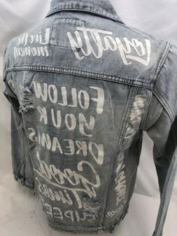 MENS VICTORIOUS DENIM Jacket BLUE FOLLOW DREAMS JEAN RIPPED