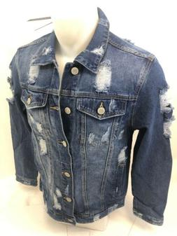MENS VICTORIOUS DENIM Jacket BLUE INDIGO JEAN RIPPED DISTRES
