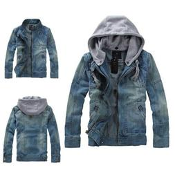 Mens Denim Jacket Hooded Retro slim Jean coat outwear Fashio