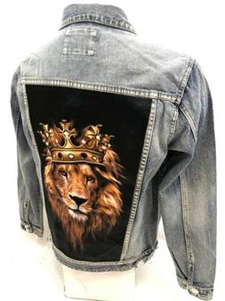 MENS VICTORIOUS DENIM Jacket LION CROWN BLUE JEAN DISTRESS V