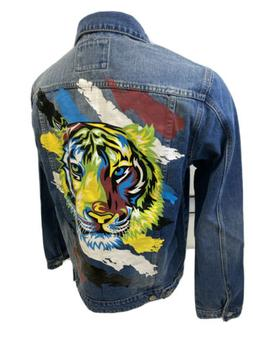 MENS VICTORIOUS DENIM Jacket TIGER  BLUE JEAN COLORFUL DISTR