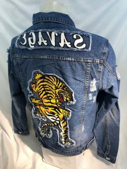 MENS VICTORIOUS DENIM Jacket TIGER SAVAGE BLUE JEAN RIPPED D