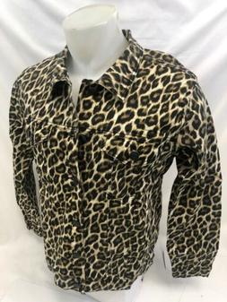 MENS VICTORIOUS DENIM JACKET Urban BUTTON UP LEOPARD ANIMAL