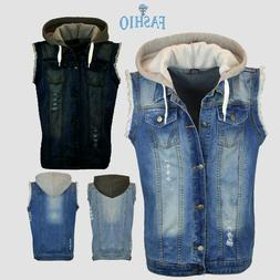 mens denim stylish ripped jeans biker coat