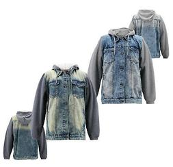 Men's Faded Denim Button Up With Jersey Sleeves Hooded Tru