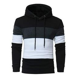Mens Fashion Long Sleeve Patchwork Hoodie Hooded Sweatshirt