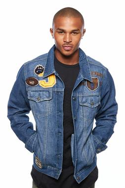 mens popular patched casual collared fashion denim