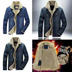 Mens Premium Sherpa Fur Lined Denim Jacket Classic Button Up