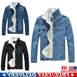 mens premium sherpa fur lined denim jacket