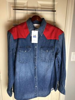 Calvin Klein Jeans Mens Shirt Jacket Blue Red Size XL Oversi