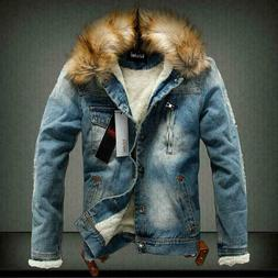 Mens Winter Warm Fur Collar Denim Jacket Outwear Parka Fleec