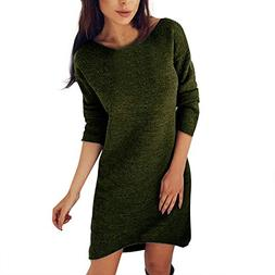 iFOMO Mini Sweater Dress Bottoming Shirt Solid Color Long Sl
