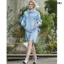 new 18p distressed ruffle applique denim jacket