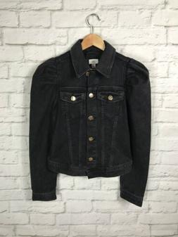 NEW River Island Black Denim Jacket Size 10 Puffy Sleeves
