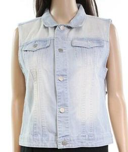 Allegra K NEW Blue Women's Size Medium M Light Denim Vest Ja