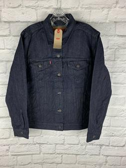 New Levi's Denim Trucker Jean Jacket Raw Rigid Dark Blue Was