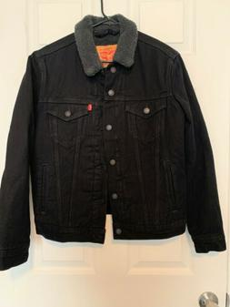 New Levi's Size Small Mens Black Sherpa Jean Denim Trucker J