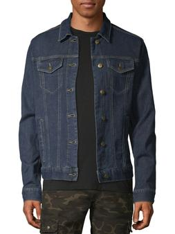 ***NEW GEORGE MEN'S DARK BLUE WASH STRETCH DENIM JACKET 4 PO