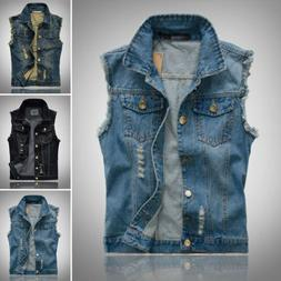 New Mens' Causal Jacket Denim Vest Jean Coat Cool Collar Sle