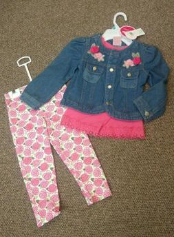 NEW NWT GIRLS 5 NANETTE KIDS 3 PC OUTFIT TOP DENIM JACKET &