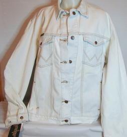 NEW NWT Mens Wrangler White Denim Jean Jacket Classic Wester