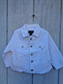 NEW The Children's Place Denim White Jacket Vest Coat Bow Ba