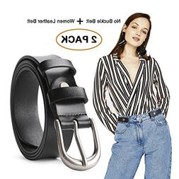No Buckle Women Stretch Belt with Women Leather Belt for Jea