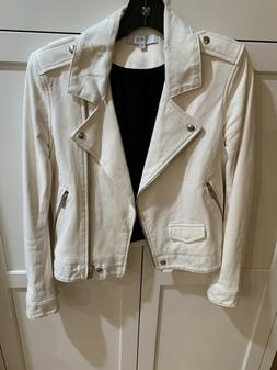 nwot white leather and denim jacket 38