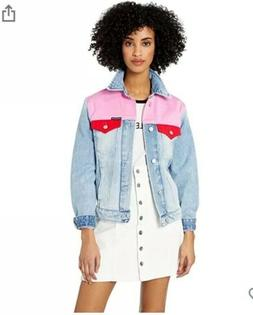 NWT Calvin Klein CK denim jacket color block Mohonk Pink And