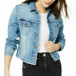 nwt cotton frayed trucker blue denim jacket