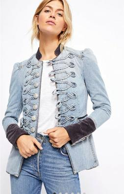 nwt denim seamed and structured military jacket