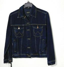 NWT Men's Wrangler Denim Jean Jacket - Dark Blue -  Size Sma